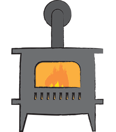 illustration of woodstove